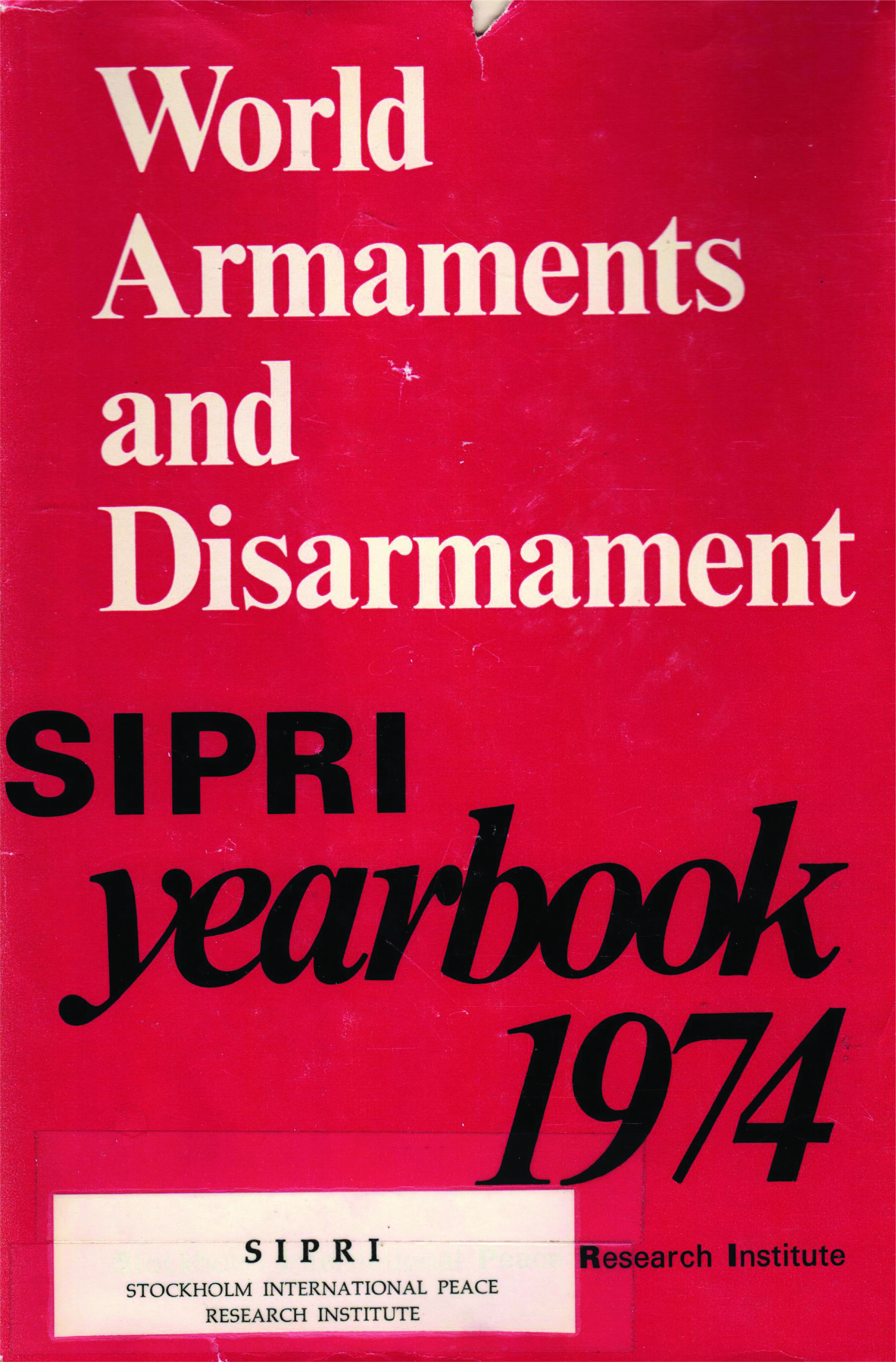 SIPRI yearbook 1974 cover