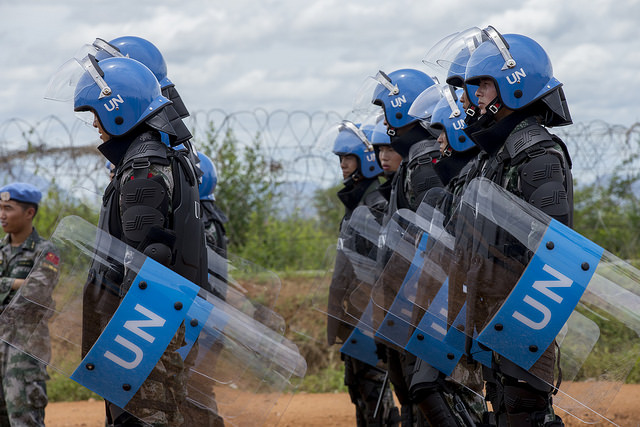 The UN Mission in South Sudan (UNMISS) conducts a training exercise in riot control for its peacekeepers in Juba, South Sudan, May 2015.