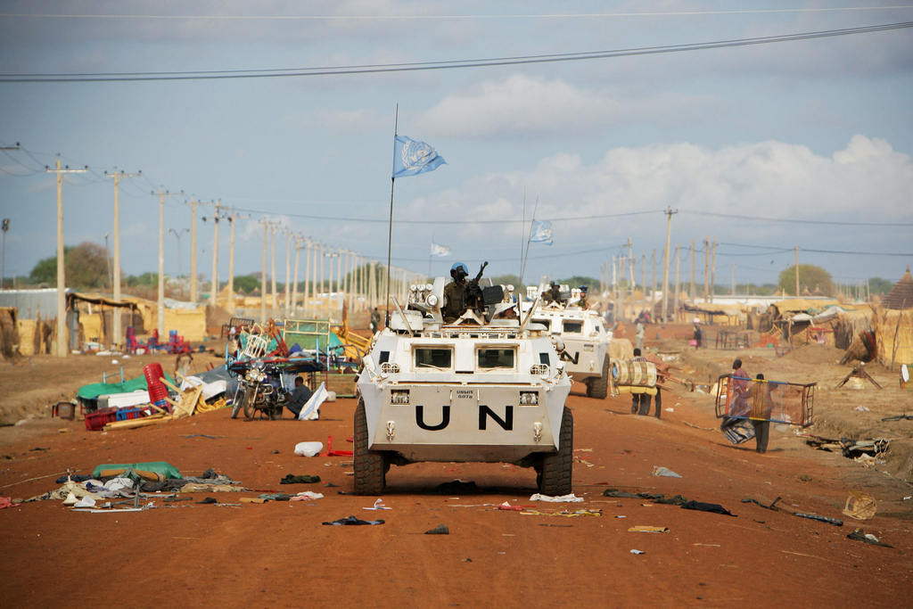 Zambian UN peacekeepers drive along the border of Sudan and South Sudan