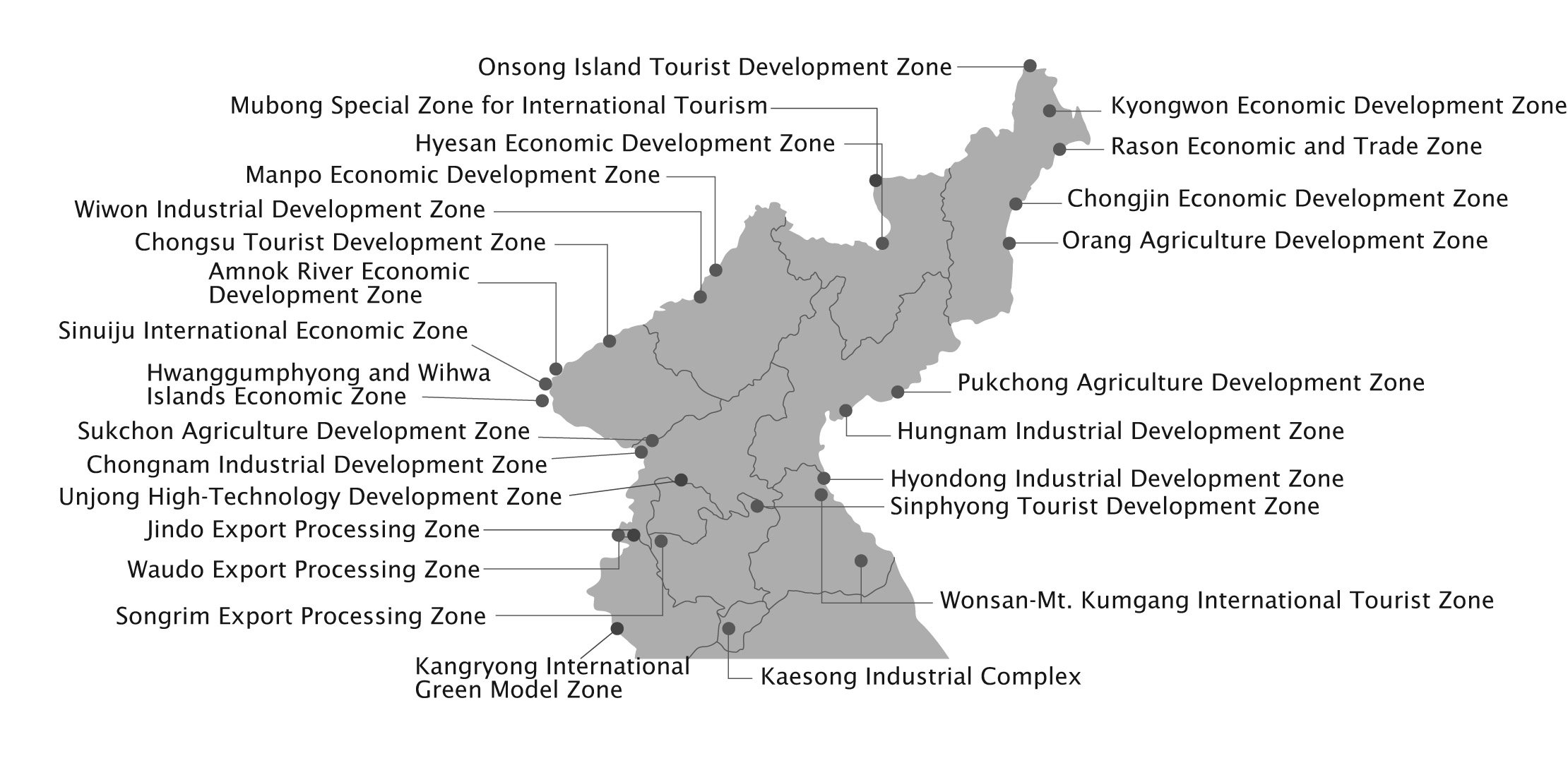 Map of special economic zones in North Korea