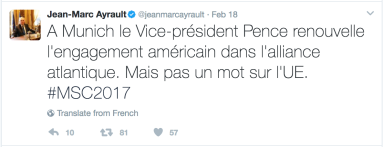 Tweet from French Foreign Minister Jean-Marc Ayrault