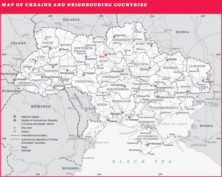 Map of Ukraine and neighbouring countries
