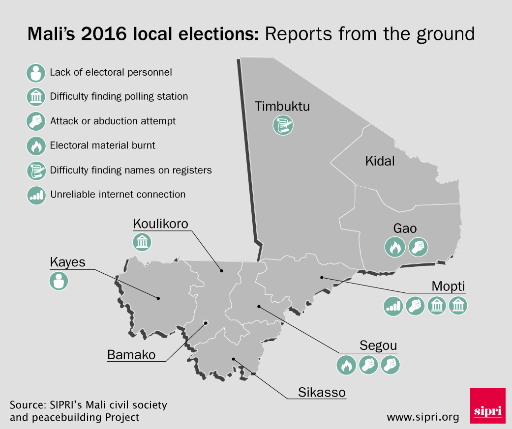 Map showing local reports from Mali's elections