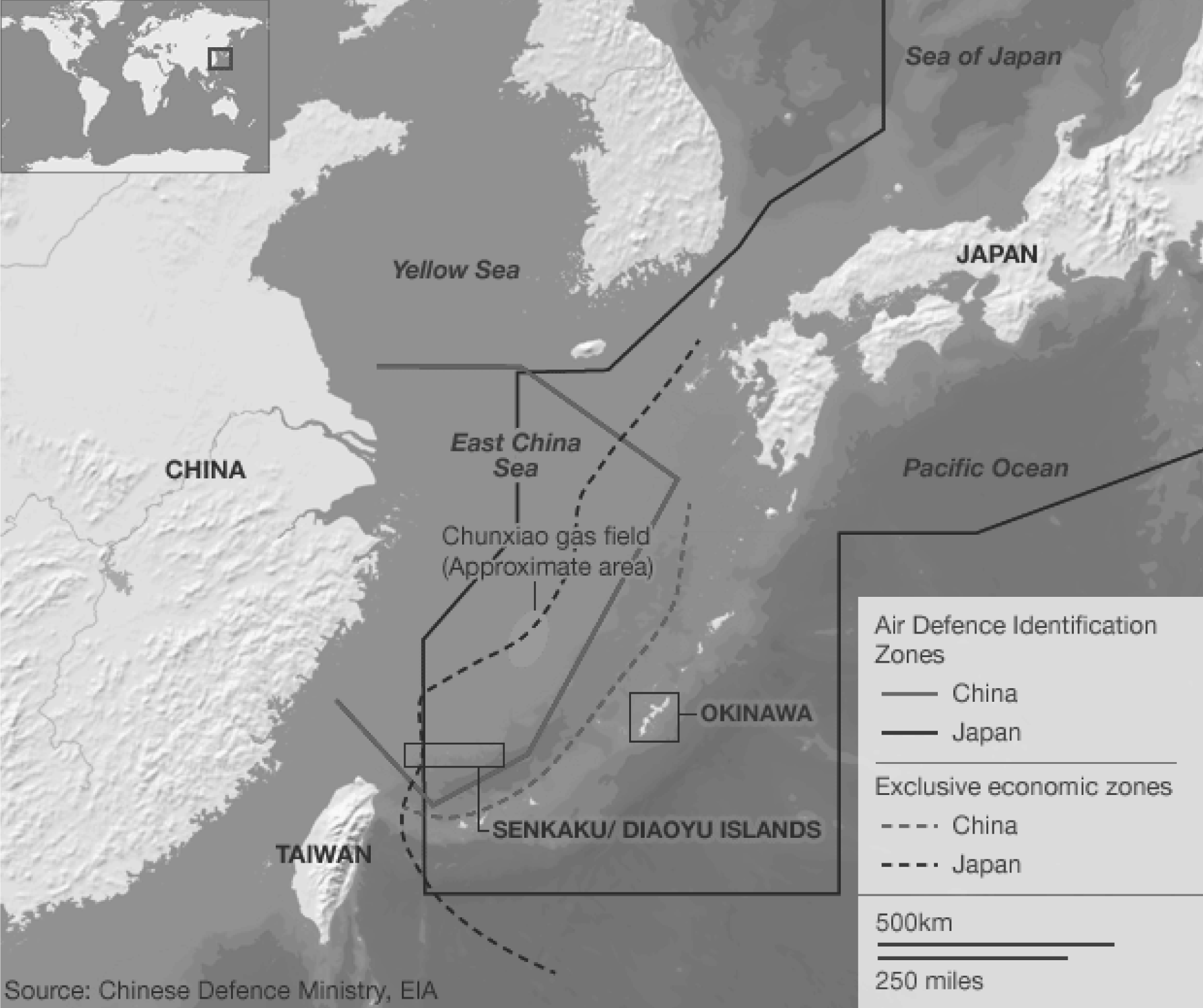 Map of territorial claims in the East China Sea