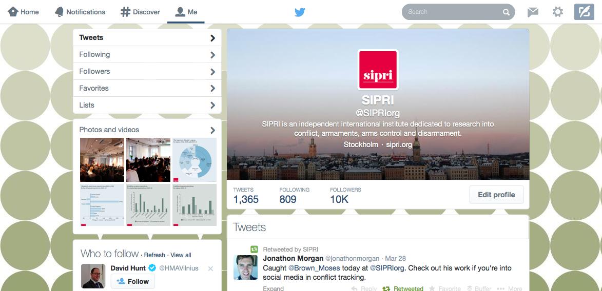 SIPRI's 10 000 Twitter followers - SIPRI - 웹