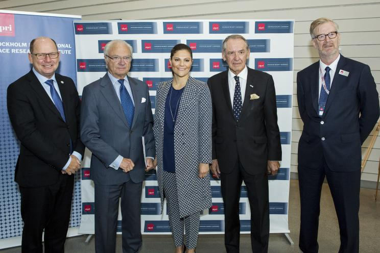 Urban Ahlin, Speaker of the Riksdag, Carl XVI Gustaf King of Sweden, Crown Princess Victoria, Jan Eliasson, Chair of SIPRI Governing Board and SIPRI Director Dan Smith