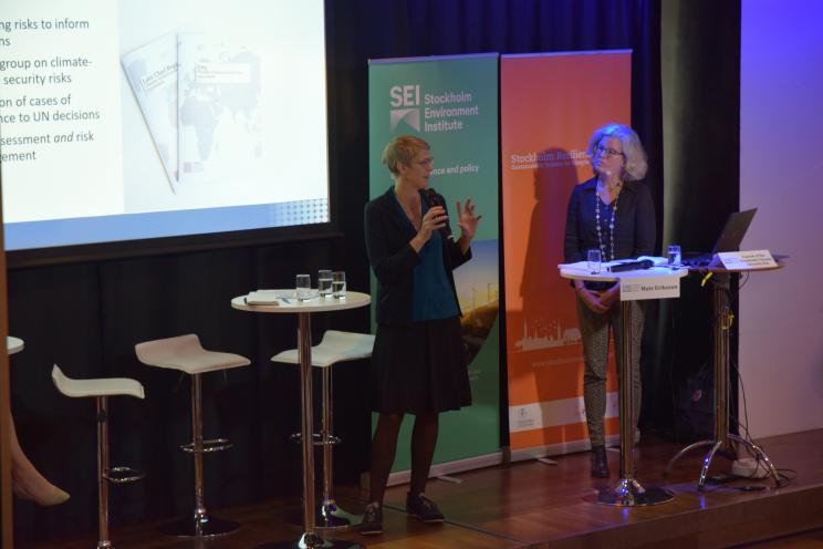Dr Malin Mobjörk, Director of SIPRI's Climate Change and Risk Programme, speaking during the Stockholm Climate Security Hub launch event at World Water Week in Stockholm