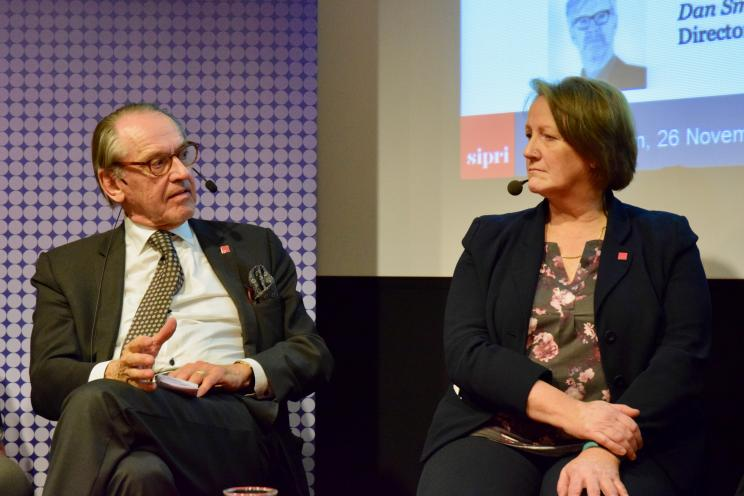 Ambassador Jan Eliasson, Chair of the SIPRI Governing Board and Dr Patricia Lewis, Research Director for International Security at Chatham House