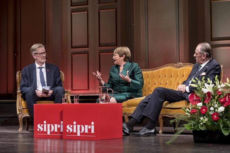 Dan Smith, Director of SIPRI, HE Michelle Bachelet, United Nations High Commissioner for Human Rights and Ambassador Jan Eliasson, Chair of the SIPRI Governing Board