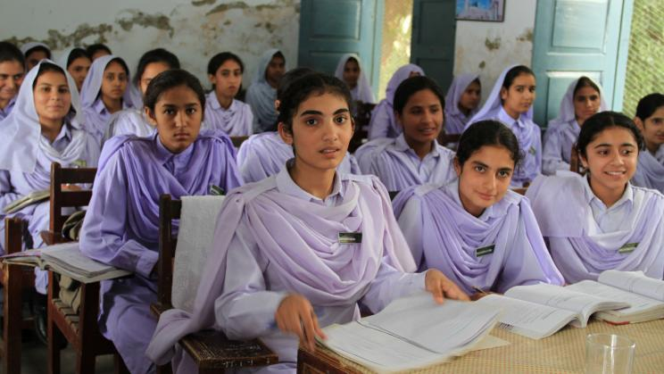 Girls in a school in Khyber Pakhtunkhwa, Pakistan.