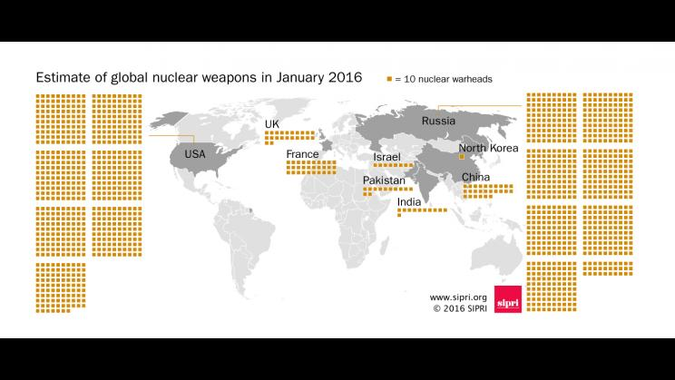 Map of global nuclear weapons, January 2016.