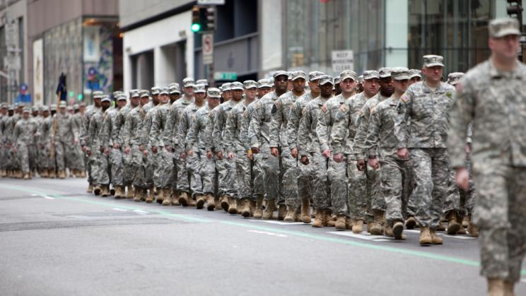 Soldiers marching at the St. Patrick's Day Parade in New York in USA, 2013