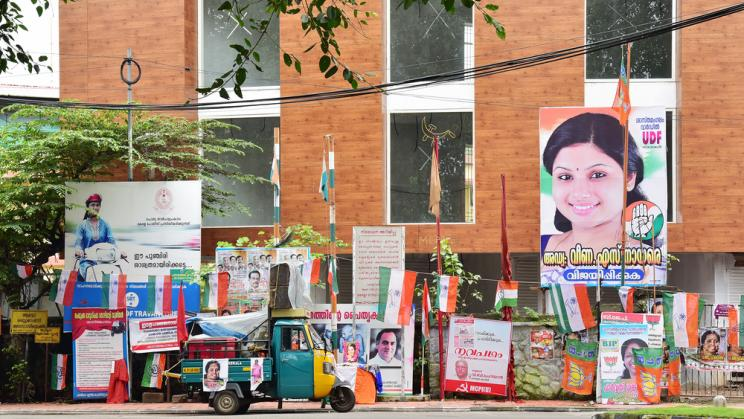 Posters for local elections in Kerala, India in 2015