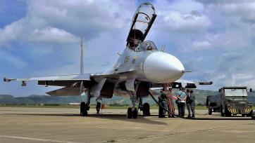Front view of a Sukhoi Su-30MK2 of the Bolivarian Military Aviation (AMB) deployed during the Aeronautical Fair BALANDA 2016 in Barquisimeto - Venezuela