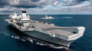 F-35 Lightning jets onboard the United Kingdom's next generation aircraft carrier, HMS Queen Elizabeth