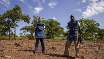 Two members of the United Nations Mine Action Service in a mine clearance site in Aru Junction, South Sudan in 2015