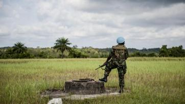 UN peacekeeper on duty in Liberia, 2012.