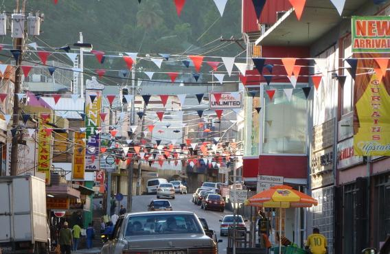 Street in San Fernando, Trinidad and Tobago with decorations to celebrate the 50th anniversary of the country's independence, 2012