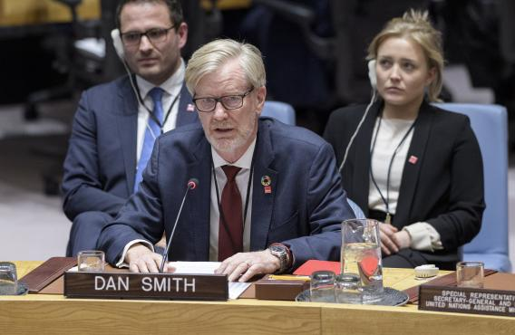 Report of the Secretary-General on Somalia, Dan Smith briefing the UN Security Council. Credit: UN Photo/Manuel Elias.