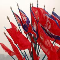 Flags in the DPRK. Photo: Flickr/(stephan)