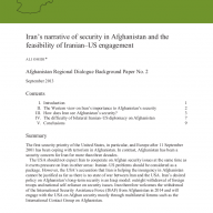 Cover of 'Iran's narrative of security in Afghanistan and the feasibility of Iranian–US engagement'