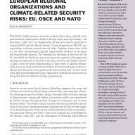 Cover European regional organizations and climate-related security risks: EU, OSCE and NATO
