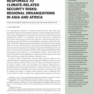 Cover Responses to climate-related security risks: Regional organizations in Asia and Africa