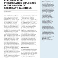 European Non-proliferation Diplomacy in the Shadow of Secondary Sanctions cover