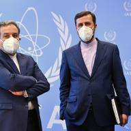 HE Dr. Seyed Abbas Araghchi, Deputy Foreign Minister for Political Affairs of Iran accompanied by HE Ambassador Kazem Gharib Abadi, Resident Representative of Iran to the IAEA at the Agency headquarters in Vienna, Austria. 8 April 2021. Photo Credit: Dean Calma / IAEA.