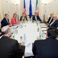 US and EU officials met with their Iranian counterparts during Iran nuclear negotiations, 13 July 2015