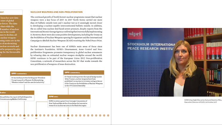 Page from Annual Review 2017, showing SIPRI's work on nuclear weapons and non-proliferation