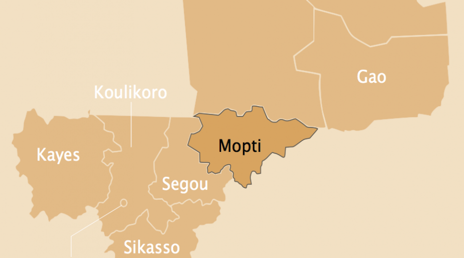 Map of Mali highlighting the Mopti region