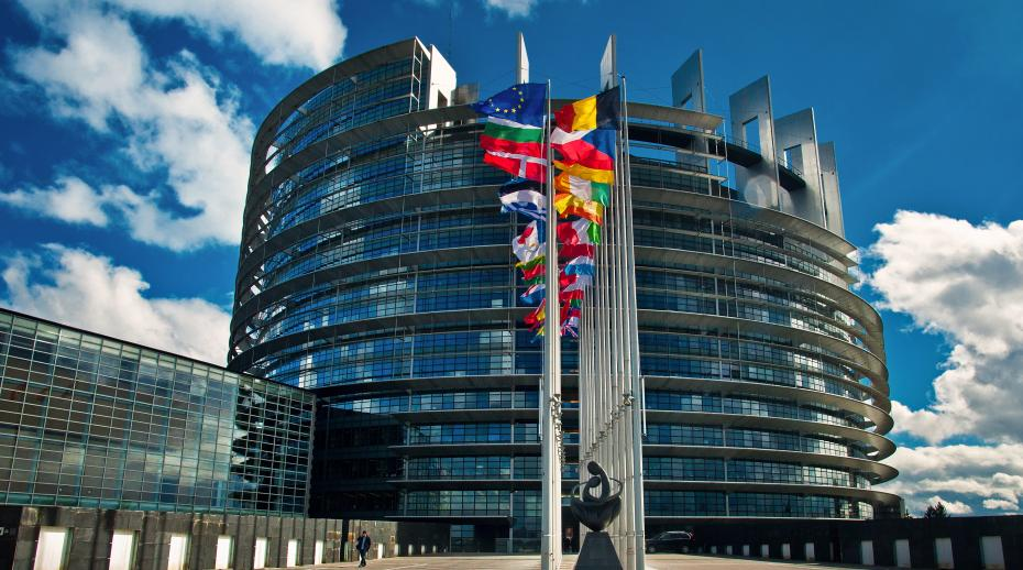 Exterior of the European Parliament in Strasbourg, France.
