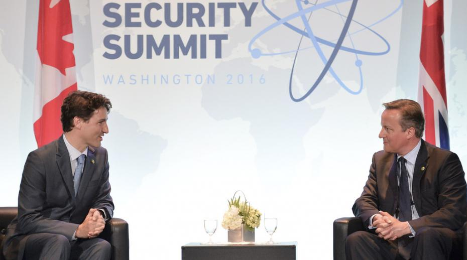 David Cameron, Prime Minister of the UK, and Justin Trudeau, Prime Minister of Canada, at the Nuclear Security Summit in Washington DC, 2016. Photo: Georgina Coupe.