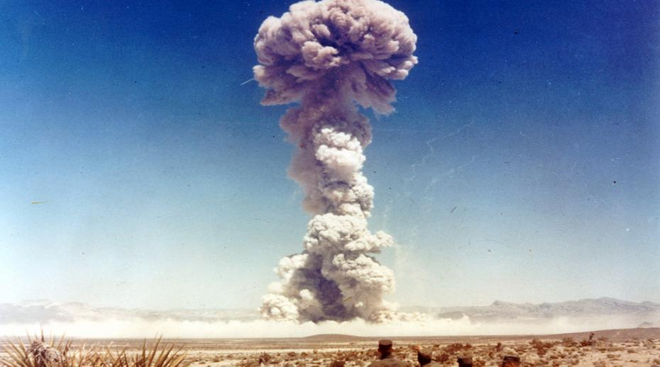Military personnel observe a nuclear weapons test in Nevada, USA in 1951