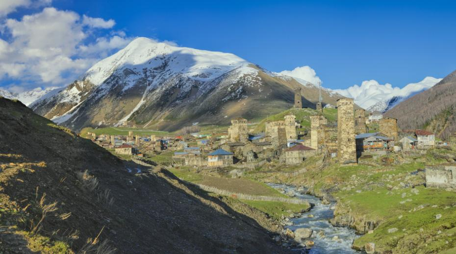 Panoramic view over Svaneti, Georgia.