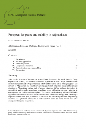 Cover of 'Prospects for peace and stability in Afghanistan