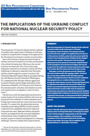 Implications of the Ukraine conflict on national nuclear security policy