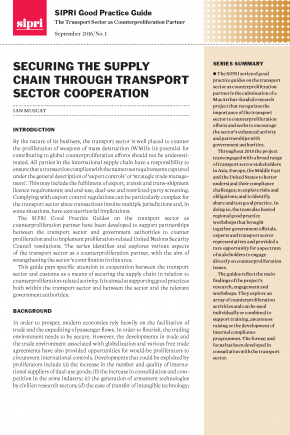 Good Practice Guides: The Transport Sector as Counterproliferation Partner