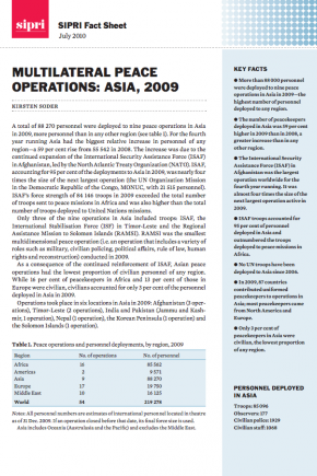 Multilateral peace operations: Asia, 2009