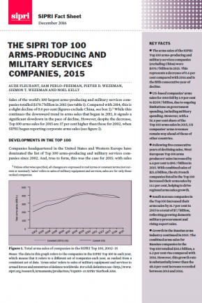 The SIPRI Top 100 arms-producing and military services companies, 2015