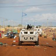 Zambian peacekeepers from the United Nations Mission in Sudan (UNMIS) patrol streets in Abyei on the border of Sudan and South Sudan, May 2011.