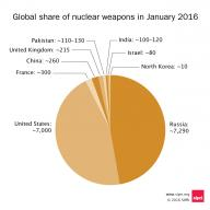 Pie chart showing gloal share of nuclear weapons in January 2016